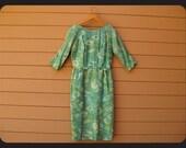 60s Abstract Wiggle Skirt Pencil Skirt Dress Green Madmen Sleeved S Small M Medium