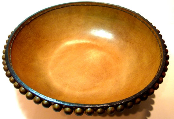 Molded Leather Bowl / Tooling leather / hand stiched / Wood Buttons / Vegetable Tanned