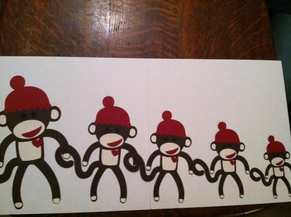 Super Cute Set of (5) Sock Monkey Die Cuts