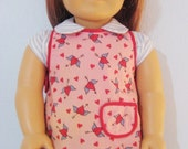 American Girl Apron, Red and Pink Valentine Winged Hearts