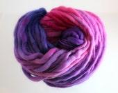 hand dyed merino thik and thin slub Heart of Darkness purple