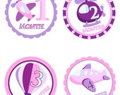 Monthly Onesie Stickers,  Airplane Theme,  For baby girl 1-12 months, Perfect gift for baby showers and new moms.