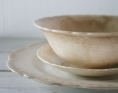 Vintage Plate / Bowl / Saucer Set - Antiqued Color