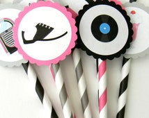 12 50s Party Straws, 50s Theme, Sock Hop, Over the Hill, 50s Straws, 50s Birthday, Turning 50, Surprise Party, Birthday Straws, Party