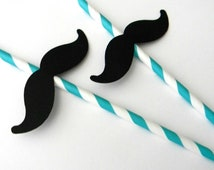 12 Mustache Party Straws , Aqua Stripe, First Birthday, Mustache Theme, Little Man, Mustache Birthday, Paper Straws, Baby Shower, Reveal