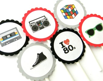 12 Awesome 80s Cupcake Toppers, 80s Theme, Birthday Toppers, 80s Birthday, Party Toppers, 80s Theme