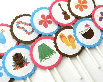 12 Luau Cupcake Toppers, Luau Party, Hula Birthday, First Birthday, Luau Theme, Hawaiian Birthday, Baby Shower, Luau Birthday