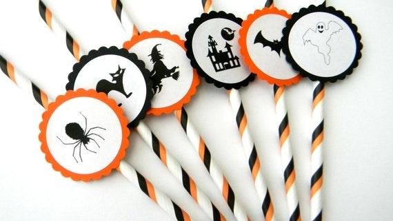 6 Halloween Party Straws, Halloween Theme, October Birthday, Halloween Party, School Party, Scary Birthday, Stripe Straws