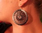 Anna 2 gradient grey crochet hoop earrings