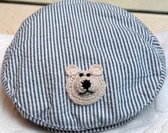 Boys Infant Toddler Newsboy Golf Cabbie Hat Cap - Handmade Teddybear Face -  Blue and White Stripes - Sizes 18-24 months 3T-4T
