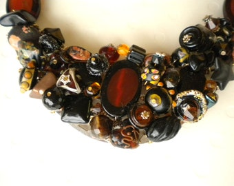 Root Beer Float and Licorice Lampwork Glass Gemstone Bib Necklace Sterling Silver Chain