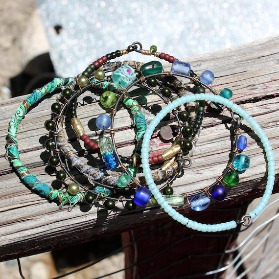 SALE Urban Gypsy Bangle Stack - Set of 7, green, teal, blue, brass, copper, beaded, bohemian jewelry, gypsy bangle, tribal gypsy