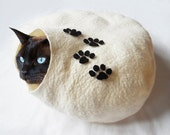 Cat Bed Cave House Felted Wool with paw print and free cat ball