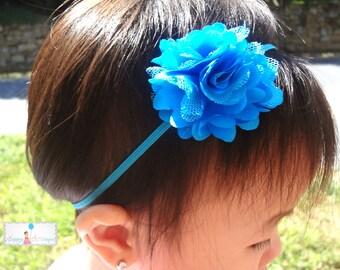 Petite Turquoise Chiffon Mesh Puff Baby Girls headband / Baby headbands/ Girls headbands / Baby photo props / Infant heabands