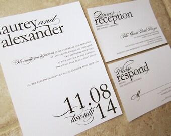 Wedding Invitation Modern Stylish - Laurey & Alexander - Sample