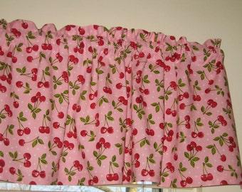 "Cherry Pattern Curtain Valance 41"" x 15"" in 100% Cotton - New Handmade."