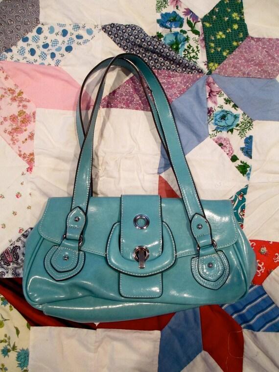 Blue Vintage Leather Bag Purse Turquoise