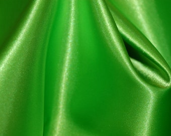 Lime satin fabric by yard