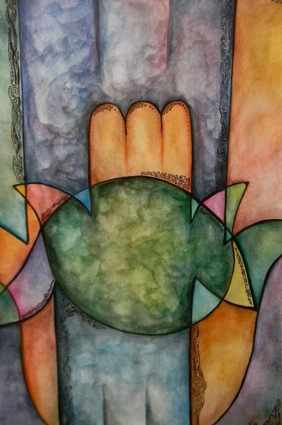 SALE Judaica Art / Art Print of Watercolor / Marbled Hamsa Symbol  / 8 x 10