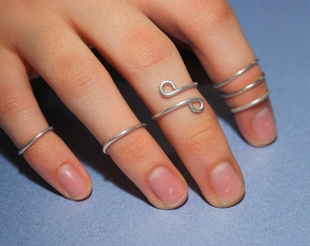 Knuckle ring upper finger ring Above the Knuckle Rings - upper finger ring- set of 6 stack midi rings