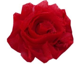 """1 YARD 2.5"""" Solid Red Shabby chiffon flower TRIM"""