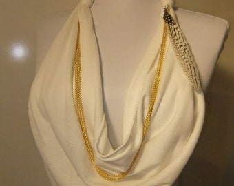 Upcycled Brass Chain Pheasant Feather Charm scarf
