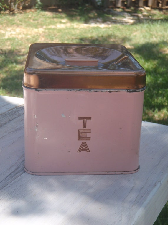 Vintage Shabby Chic Pink Tea Canister