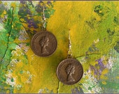 Copper coin earrings with the image of Queen Elizabeth II