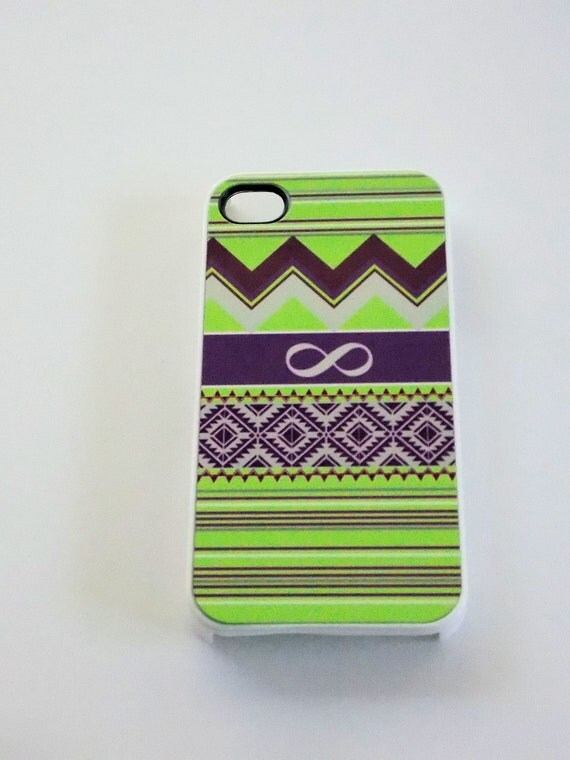 iPhone 4 / 4S Sassy Cases Western Style Infinity Lime Purple