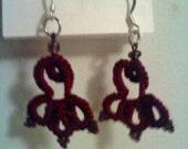 Burgundy Brown Bead Earrings