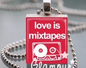 Scrabble Tile Pendant Necklace // Love Is Mixtapes // Red