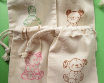 Assorted Animal Muslin Bags / Set of 10 / Birthday Party Favors / Baby Shower