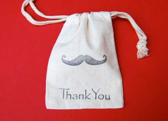Moustache Muslin Bags / Set of 10/ Mustache Bash / Birthday / Baby Shower Favors
