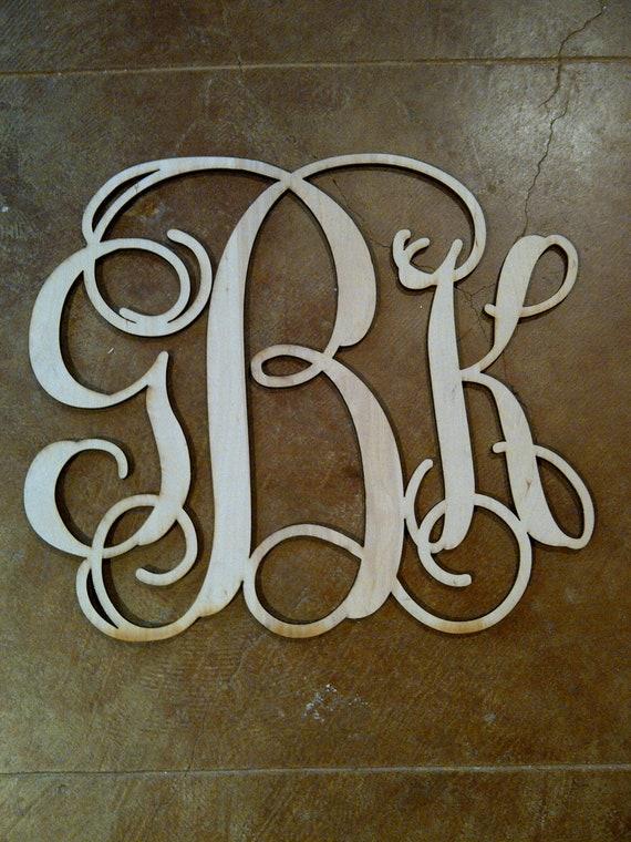 8 Inch Wood Monogram - Medium