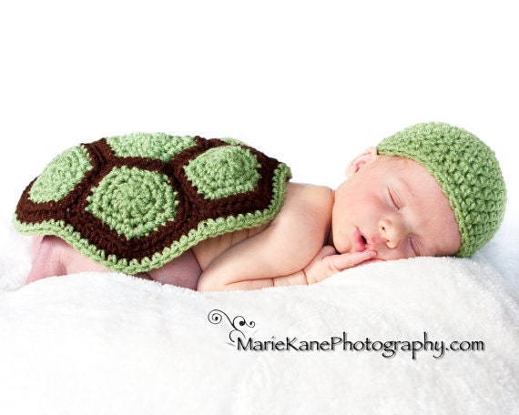 Free Crochet Pattern Turtle Photo Prop : PATTERN Turtle Shell & Hat Photo Prop Crochet