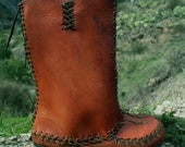 Cedar Mock, Hand sewn moccasin style leather boots for women, easy pull on/off, made with love