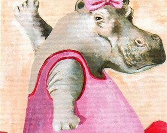 Ballerina Hippo Print-Original Illustration-Art Print-Art Poster-Hand Painting Mixed Media-Kids wall art-kids art decor-Zoo