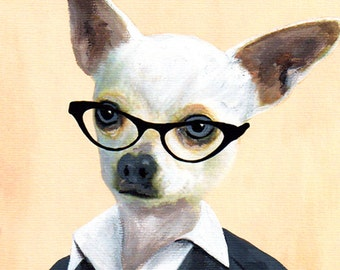 Print Illustration Art Poster Acrylic Painting Kids Decor Drawing Gift : Chihuahua Businesswoman