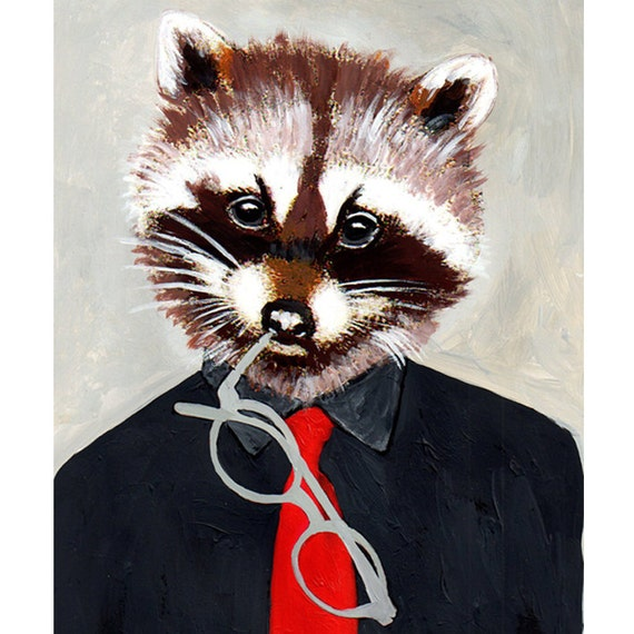 Illustration Print Art Poster Acrylic Painting Kids Decor Drawing Gift : Racoon Guy