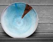 Medium Bowl with Turquoise and Temoku