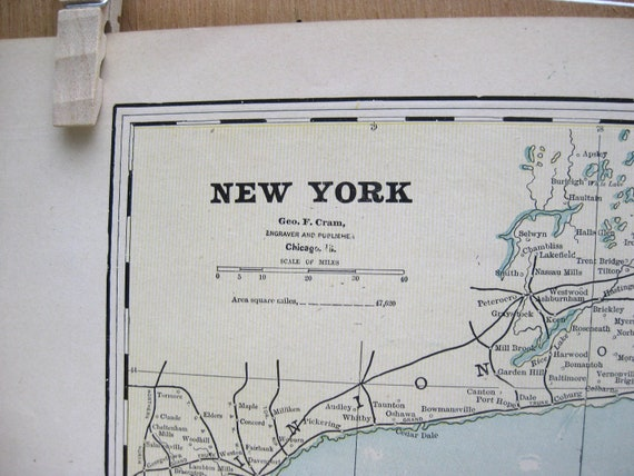 1891 Antique Map Of NEW YORK Massachusetts And Rhode Island