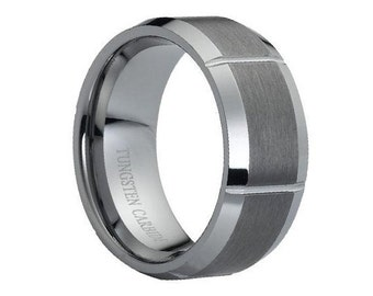 Tungsten Wedding Band,Tungsten Carbide,Anniversary Ring,Grooved,Mens Tungsten Ring,Comfort Fit,His,Hers,9mm