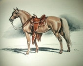 Edwin Megargee Palamino Horse Colored Vintage Lithograph Print - DreamsFromYesterday