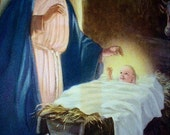 Holy Baby Jesus Child Religious Print Hy Hintermeister Artist Mary Joseph Manger Vintage 1930s Lithograph Art Print Home Decor Picture