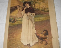 Victorian Lady Holding Baby Chicks Mother Hen Worried Antique Late 1800s Original Chromolithograph Book Page Print  Ready to Frame