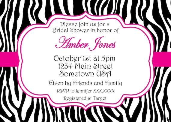 leopard print invitations templates - zebra birthday printable invitation