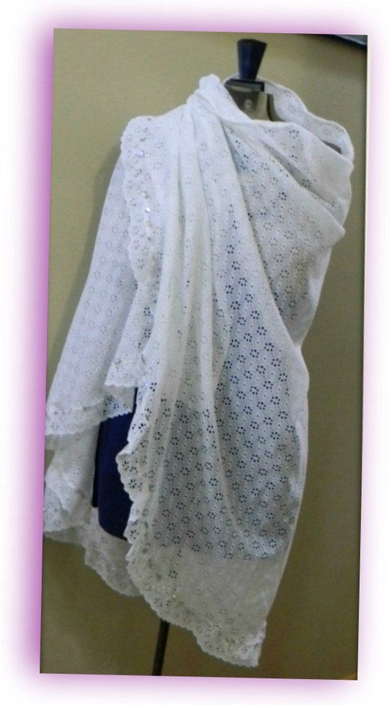 Feminine Lacy Shawl Repurpose Recycle Reuse White
