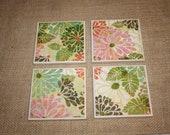 Set of 4 Coasters- Pink and Orange Floral