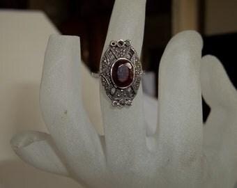 Garnet marcasite ring