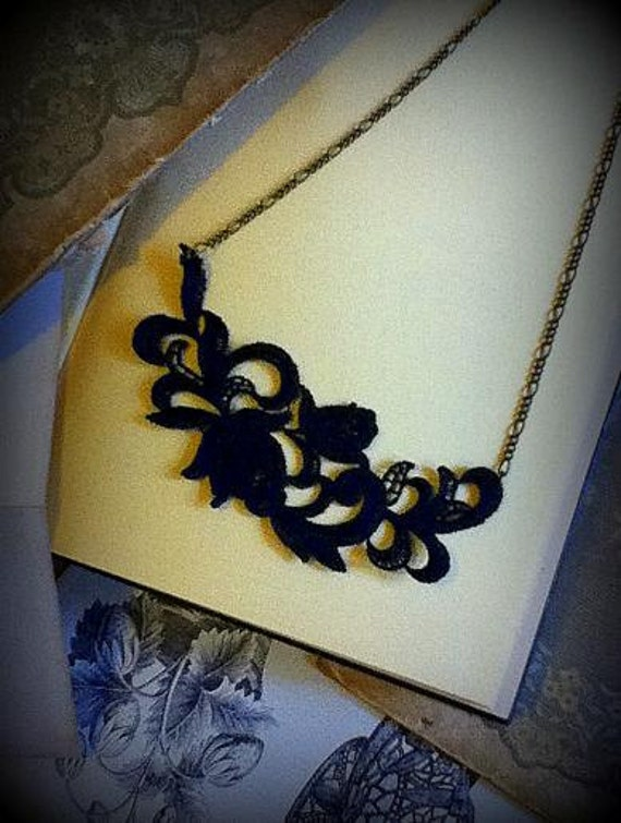 Beautiful black lace necklace ...The Enchanting